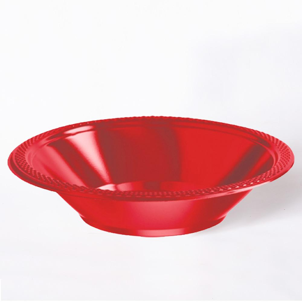 A shiny red plastic party bowl