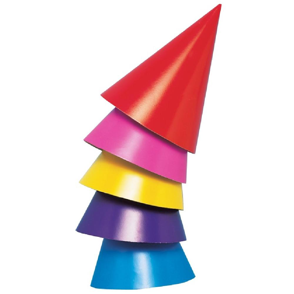 5 colourful, cone-shaped party hats stacked on one another
