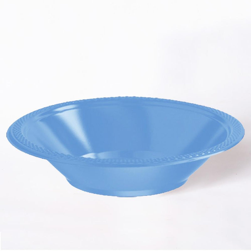 A shiny turquoise plastic party bowl