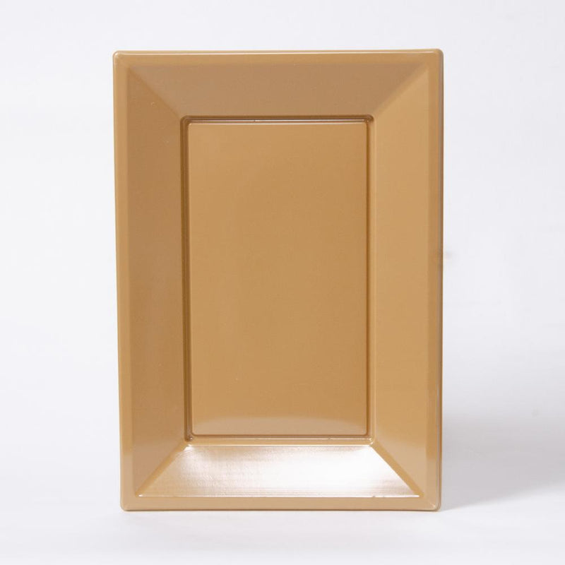 A gold rectangular plastic serving tray for party food