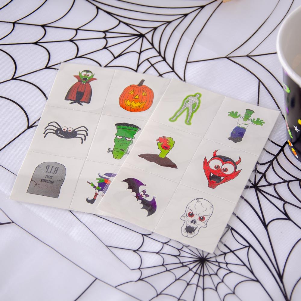Halloween Party Temporary Tattoos (x6 cards)