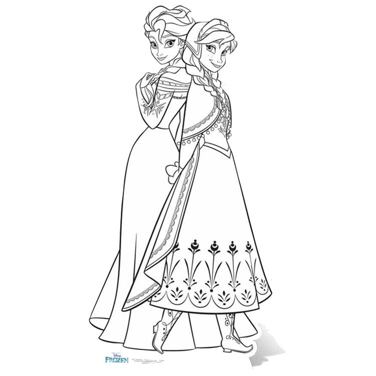 Disney Frozen Anna and Elsa Colour-In Cutout (5ft)
