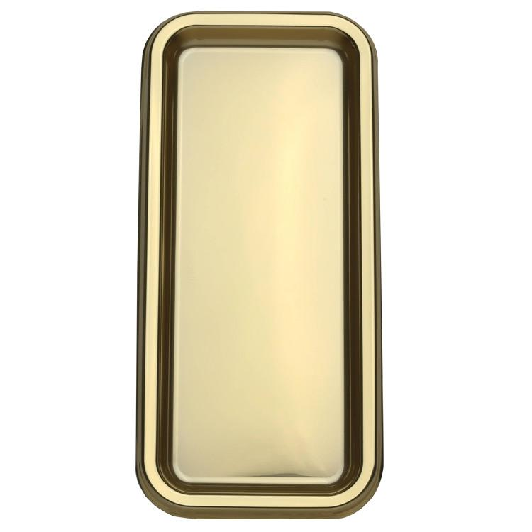 Rectangular Plastic Party Tray Gold (x2)