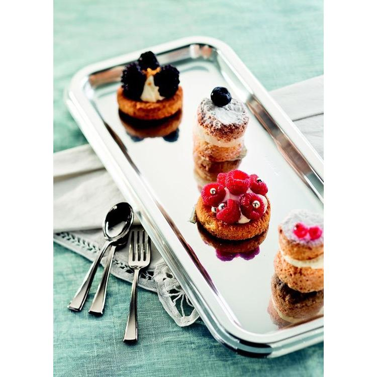 Rectangular Plastic Party Tray Silver (x2)