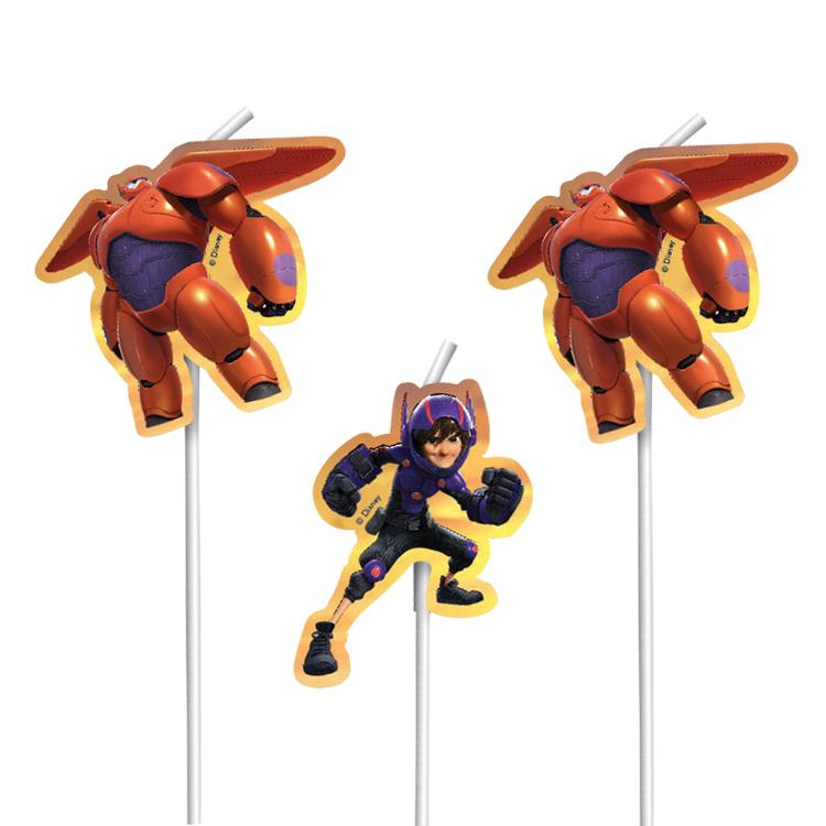 Big Hero 6 Party Medallion Straws (x6)