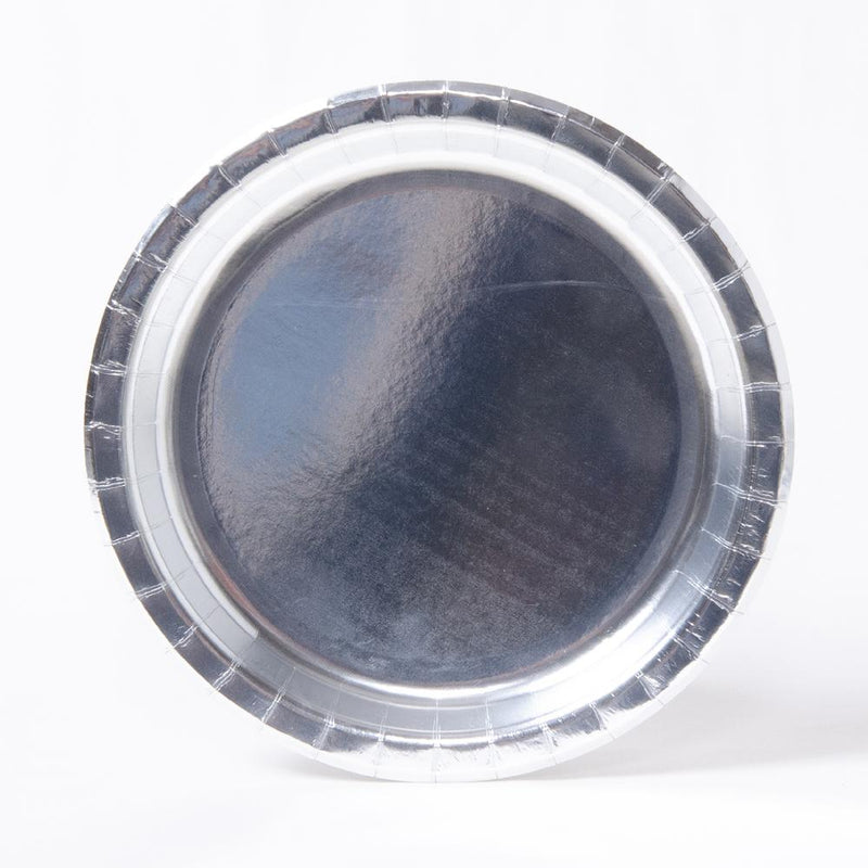 A round silver-foiled party plate