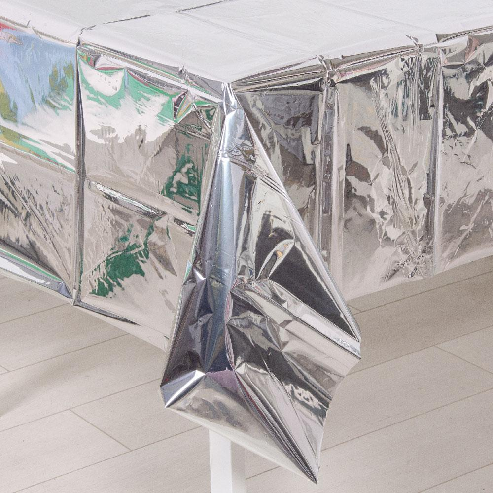 Metallic Silver Plastic Table Cover