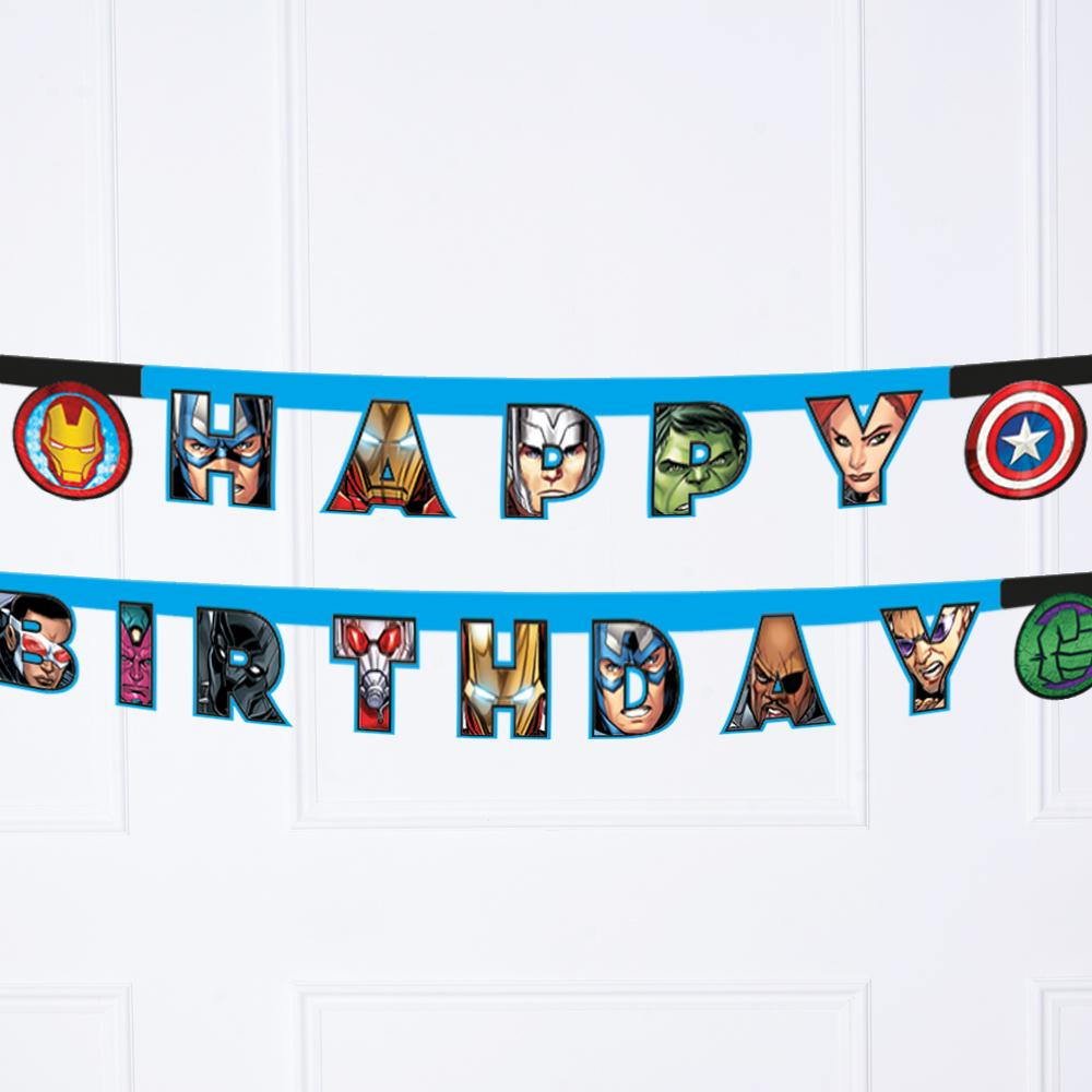 "A Marvel Avengers-themed birthday banner with a ""Happy Birthday"" phrase"