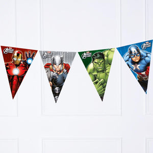 A Marvel Avengers themed party bunting with superhero pennants