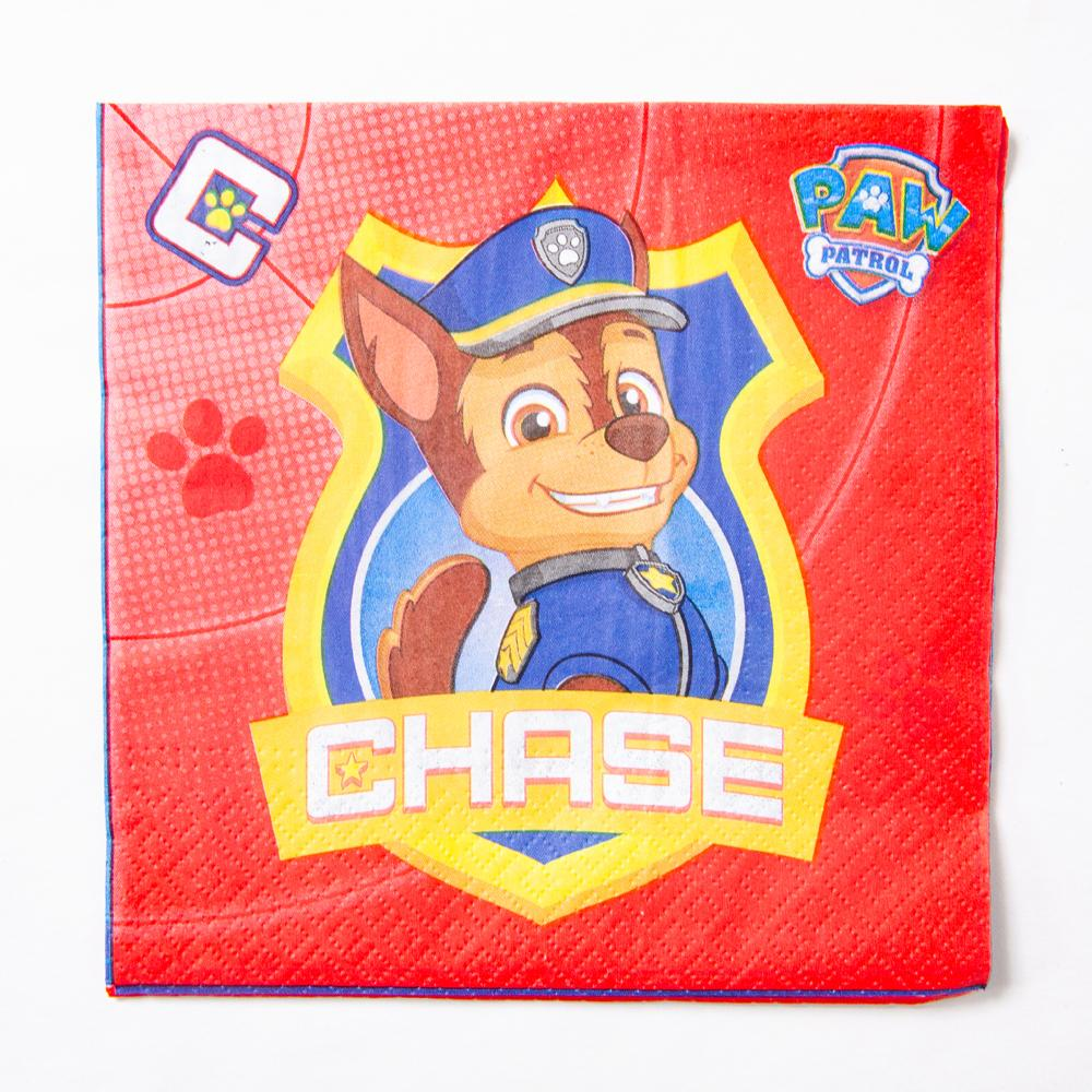 A red Paw Patrol party napkin featuring Chase the police dog