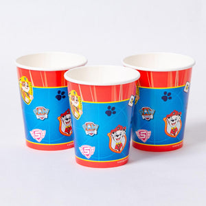 3 party cups with a Paw Patrol-themed pattern