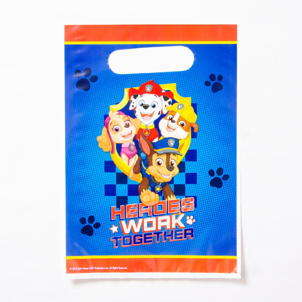 A party goodie bag featuring the characters from Paw Patrol