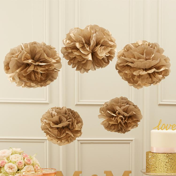Pastel Perfection Gold Party Pom Poms