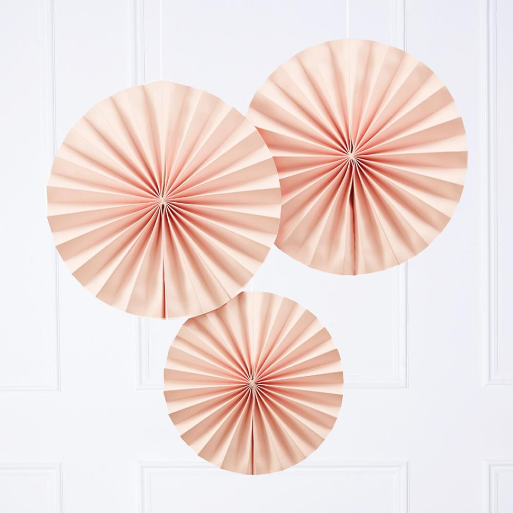 3 pink pastel party fan decorations