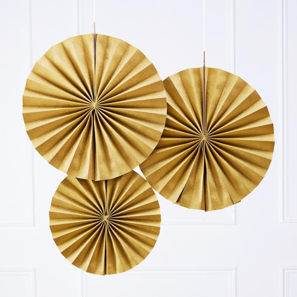 A set of 3 matte gold party fans