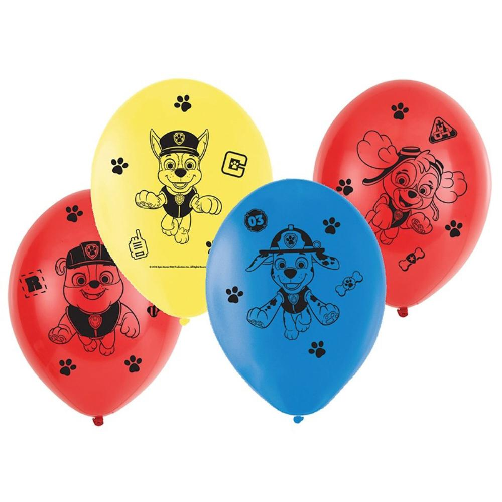 4 paw patrol-themed latex party balloons
