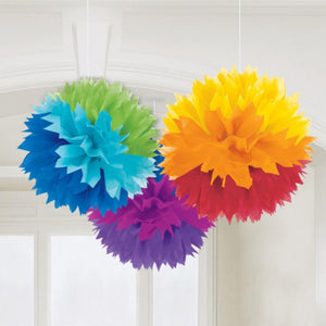 3 rainbow-coloured paper pom poms with a fluffy appearance