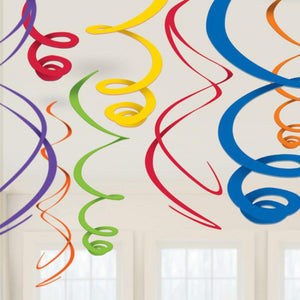 A set of rainbow-coloured spiral ceiling decorations