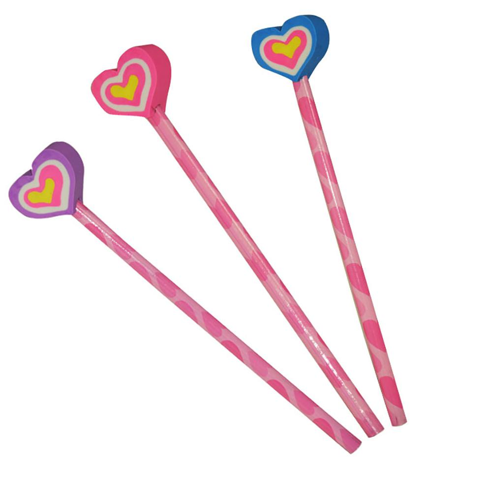 3 pink pencils with heart-shaped eraser toppers