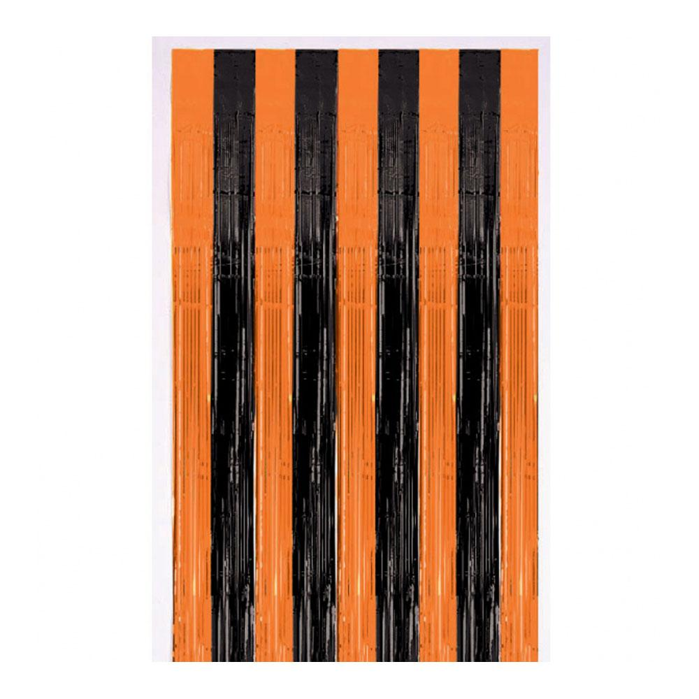 Click to view product details and reviews for Orange Black Stripe Metallic Door Curtain.