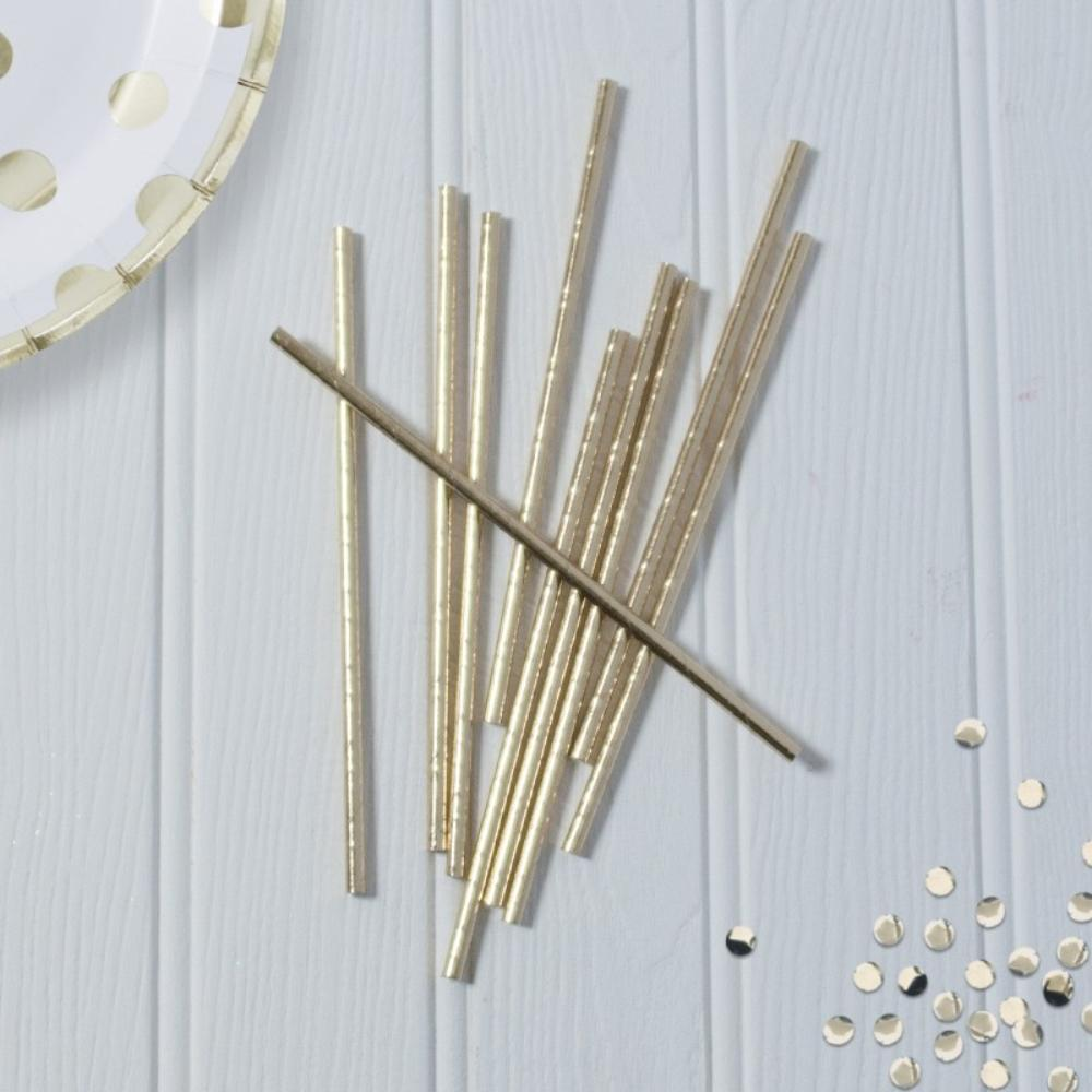 Metallic Gold Paper Foil Straws (x10)
