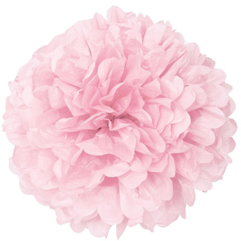 A pale pin paper pom pom with a ruffled look