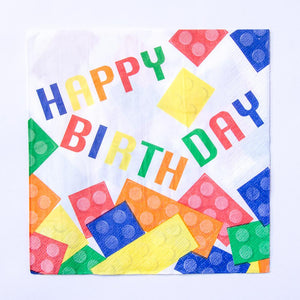 A birthday party napkin with a lego-styled block theme