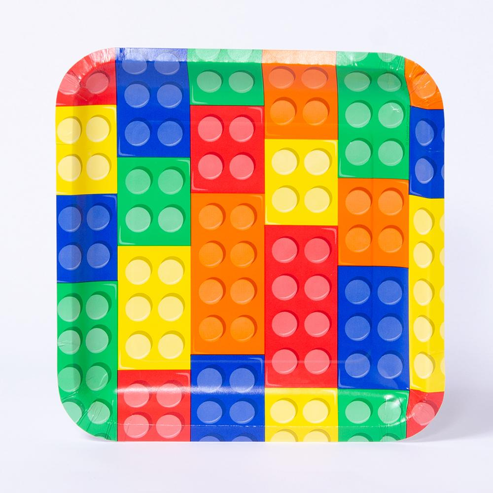 A lego-themed party plate with a multicoloured block design