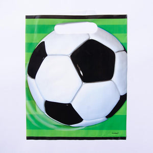 A football-themed party bag with a pitch and football design on the front