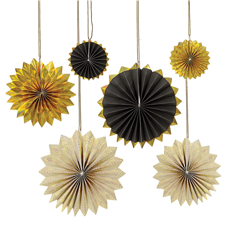 Black and Gold Pinwheel Decorations (x6)