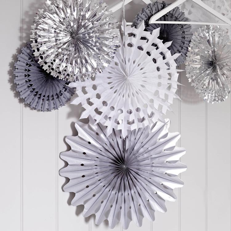 White and Silver Snow Flake Fans (x3)