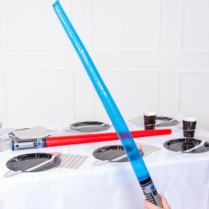 An inflatable laser sword with a blue blade