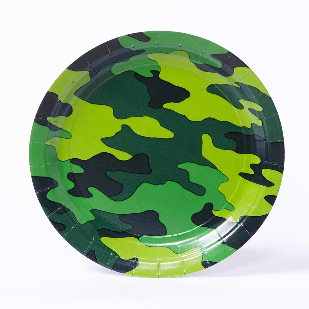A round party plate with a camouflage-pattern design