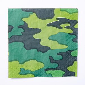 A camouflage-themed party napkin