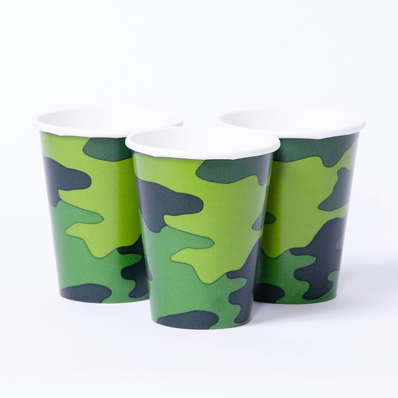 A single paper party cup with an army camouflage design