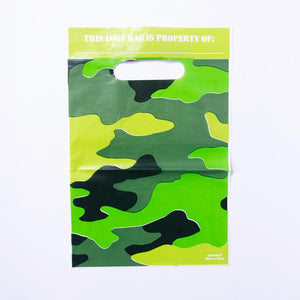 An army-themed party bag with a camouflage design