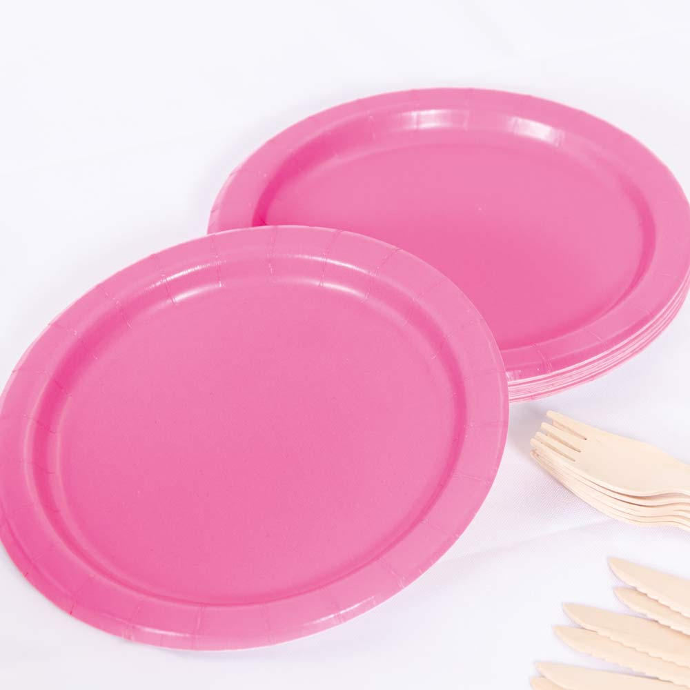 Big Value 7in Paper Party Plates Bright Pink (x100)