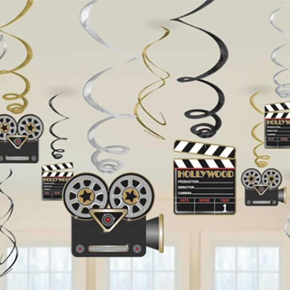A group of dangling Hollywood-camera shaped party decorations