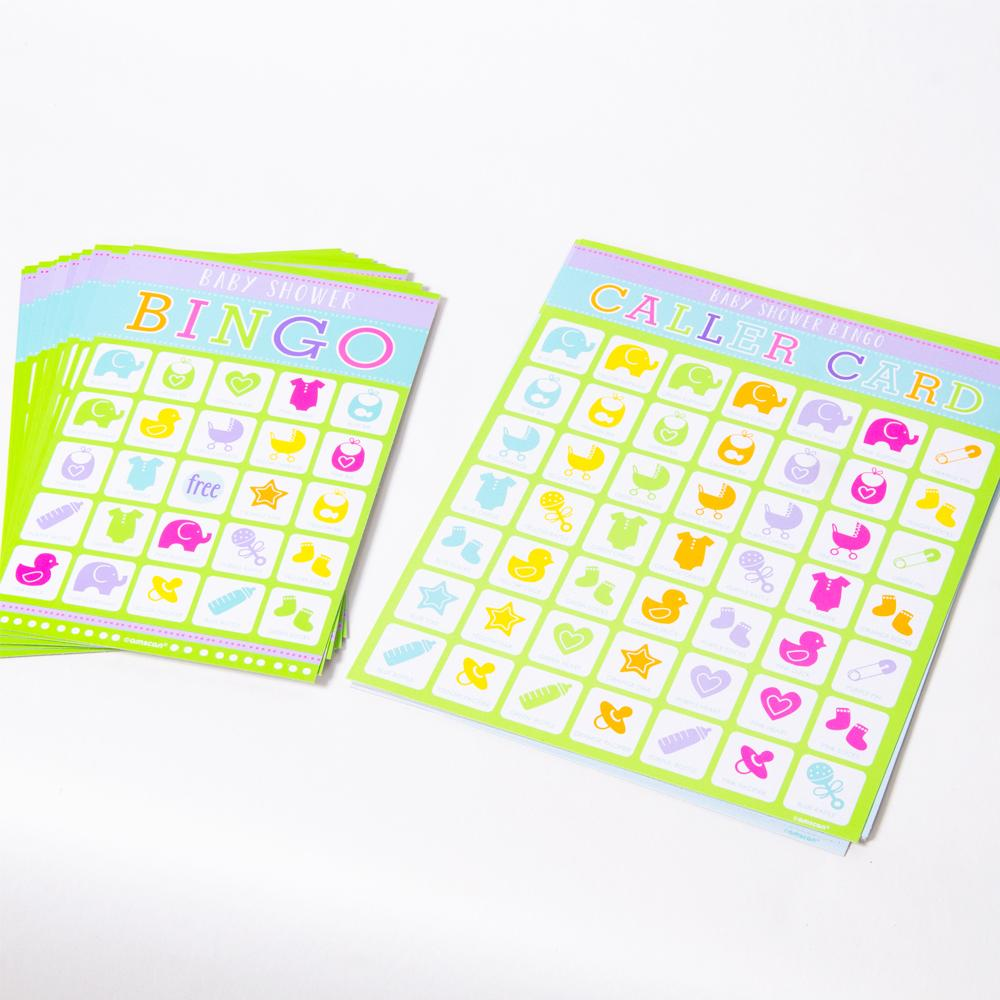 2 bingo cards with a baby shower theme