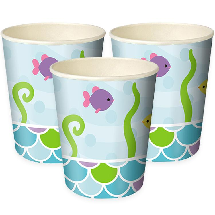 Mermaid Friends Paper Party Cups (x8)