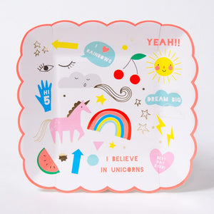 A square, scalloped, unicorn party plate featuring colourful pink unicorn doodles