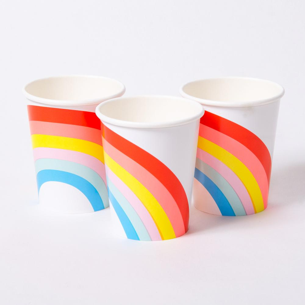 3 paper party cups with a colourful rainbow design