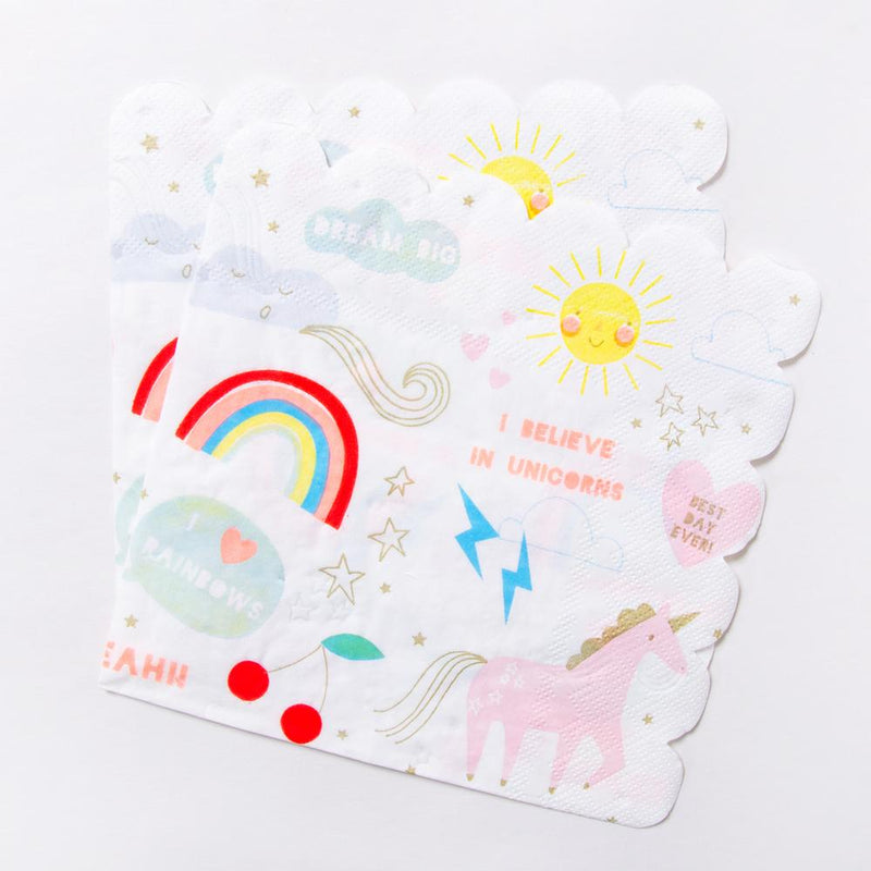 Unicorn Large Paper Party Napkins (x16)