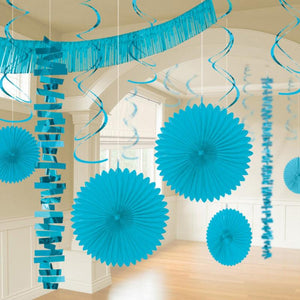 A party room decorated with a variety of turquoise party pieces