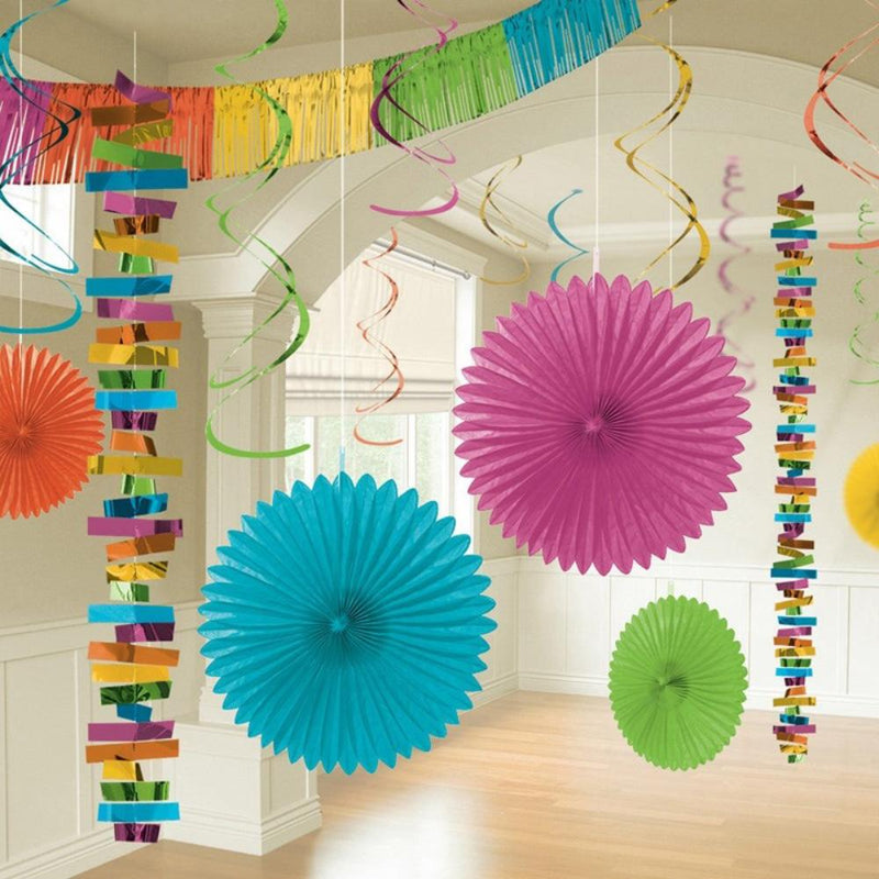 A party room decorated with a variety of multicoloured party decorations