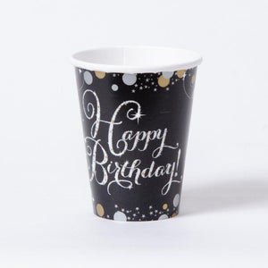 Gold Celebration Paper Party Cups (x8)