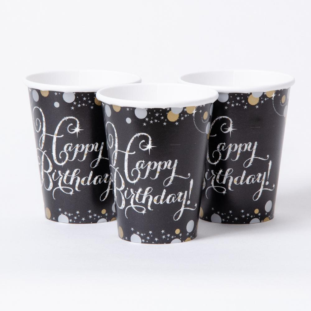 3 black party cups with Happy Birthday greetings and a silver and gold sparkle design