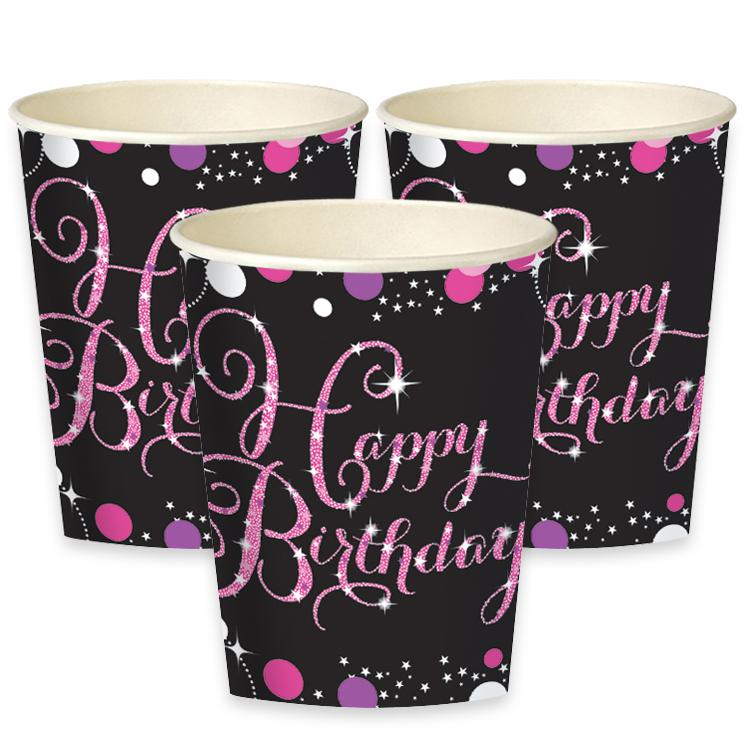 Pink Celebration Paper Party Cups (x8)