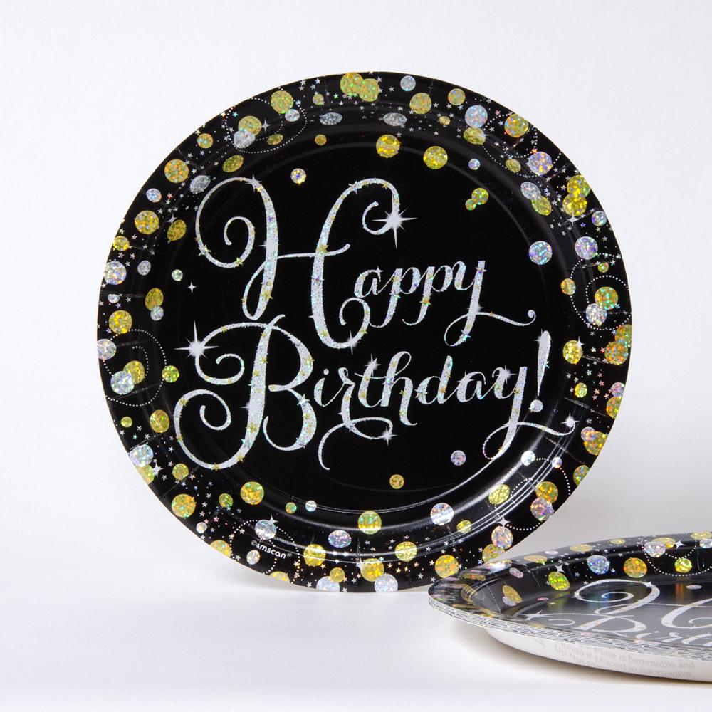 Gold Celebration Paper Party Plates (x8)