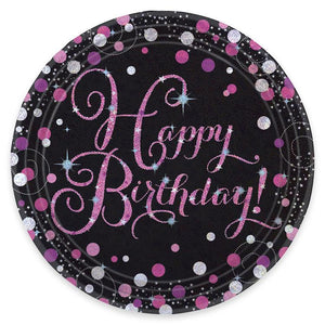 Pink Celebration Paper Party Plates (x8)